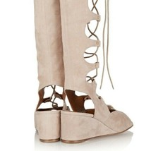 Women Chloe Gladiator Lace-Up Adjustable Strap Suede Wedge Beige Sandals... - $315.56
