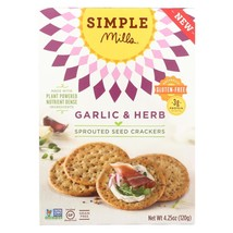 Simple Mills Sprouted Seed Crackers - Garlic & Herb - Case of 6 - 4.25 oz - $36.30