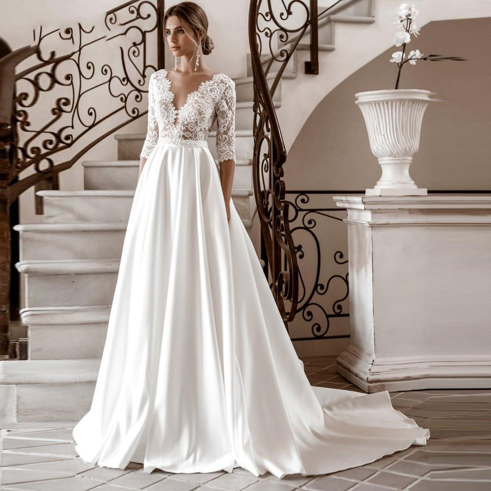 2020 3 4 sleeves lace wedding dresses satin boho back button bridal gowns a line beach