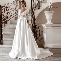 3/4 Sleeves Lace Wedding Dresses Satin Boho Back Button Bridal Gowns A-line image 1