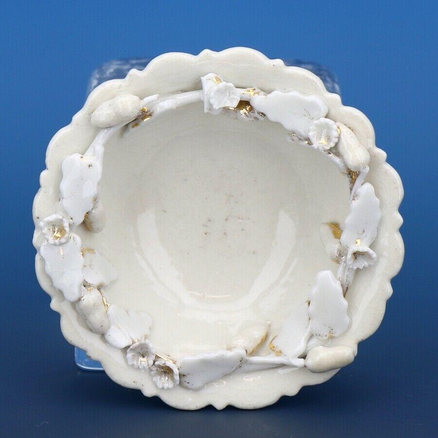 Antique Open Salt Dip Cellar Pealware with Applied Border Trim