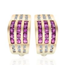 0.60 Carat Ruby and Diamond J-Hoop Earrings 14K Yelow Gold - $489.16