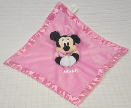 Disney Baby Minnie Mouse Chime Pink Velour Security Blanket Lovey Rattle Crinkle - $12.82