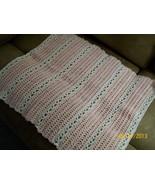 American Girl Pink & White Blanket, Handmade Crochet, Pet Blanket - $15.00