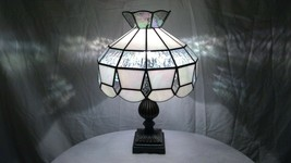 Vintage Tiffany Style Iridescent Stained Glass Shade on Quality Resin Ba... - $189.05