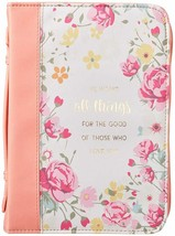 Bible Cover NEW Peach He Works All Things Romans 8:28 Large 9 5/8x 6 7/8... - $26.53