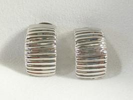 SCORED Silver Plated HALF HOOP Earrings Clip On  Elegant Classic Vintage... - $14.84