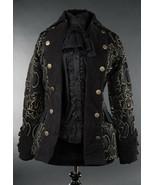 Black Grey Brocade Gothic Victorian Jacket Steampunk Short Pirate Prince... - $119.99