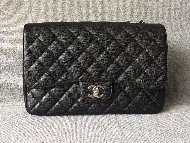 AUTH CHANEL BLACK QUILTED CAVIAR LEATHER JUMBO CLASSIC FLAP BAG SHW