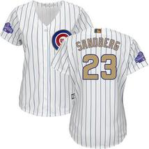 New Women's Chicago Cubs #23 Ryne Sandberg White Blue Strip Jersey MLB - €34,82 EUR