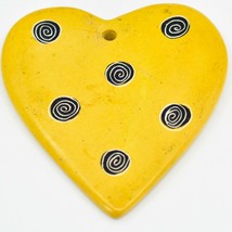 Tabaka Chigware Hand Carved Kisii Soapstone Yellow Heart Christmas Tree Ornament image 2