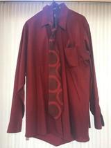 Mens Shirt(16.534/35) Van Heusen Red Long Sleeve Neckties and napkins Sh... - $37.60