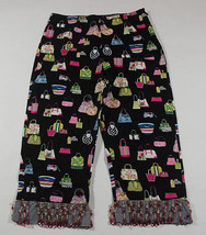 BOUTIQUE CHIQUITA GIRLS SZ 12 CROPPED PANTS PINK BEADED HEM RESORT PURSE... - $12.61