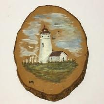 Artisan Painted Lighthouse Bird White Picket Fence Wood Slab Slice Block... - $15.90