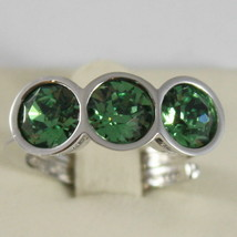 RHODIUM BRONZE REBECCA TRILOGY RING, ROUND GREEN CRYSTAL CT 3.00 MADE IN ITALY image 1