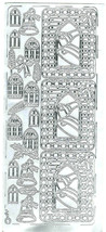 silver bells theme mixed sheet of peel off stickers  ideal cards, papercraft,