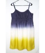 NEW Ann Taylor LOFT 12 Ombre Dress 100% Silk Stripe High Waist Navy Ivor... - $24.29