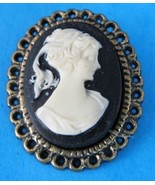Black And White Faux Cameo Brooch Filigree Brass Mounting 1960s Pin - $16.00