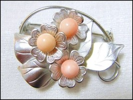 Artisan detailed Rhodium plated silver tone Floral Brooch genuine Corals... - $55.00