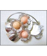 Artisan detailed Rhodium plated silver tone Floral Brooch genuine Corals... - $49.50