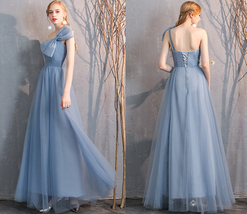 Maxi Bridesmaid Dress Tulle Bridesmaid Dresses with Sleeves Dusty Blue Burgundy image 2