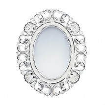 Wall Decor Mirror, Ornate Oval Unique Modern Framed Off White Etched Wall Mirror - $46.33