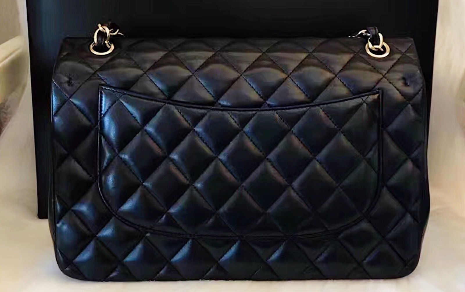 100% Authentic Chanel 2015 Black Quilted Lambskin Jumbo Classic DOUBLE Flap Bag