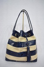 NWT! Brahmin Trina Drawstring Shoulder Bag in Navy Raffia Vineyard. Blue... - $249.00