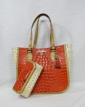 SET of Brahmin Medium Lena Leather Tote + Checkbook Wallet in Amaryllis ... - $459.00