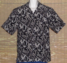 Paradise By Axis Hawaiian Shirt Black Brown Tan Bamboo Leaves Size Medium - $19.79