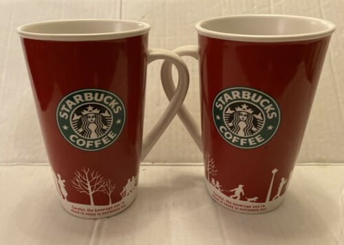 Primary image for Set Of 2 Starbucks 2006 Holiday Winter  Red, & White Tall Coffee Mug Cup 16 oz