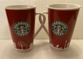 Set Of 2 Starbucks 2006 Holiday Winter  Red, & White Tall Coffee Mug Cup 16 oz - $18.69