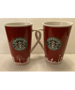 Set Of 2 Starbucks 2006 Holiday Winter  Red, & White Tall Coffee Mug Cup... - $18.69