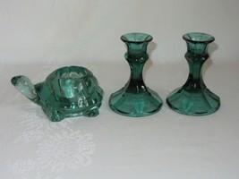 Indiana Green Glass Turtle Votive Candle Holder & Vtg Candlestick Holder... - $39.59