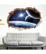 ZOOYOO® Galaxy Space Planet Stars 3D Window Poster Broken Wall Creative ... - $8.44