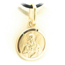 18K YELLOW GOLD SCAPULAR OUR LADY OF MOUNT CARMEL SACRED HEART MEDAL 13m... - $419.50