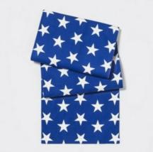 "NEW 48""x14"" Americana Star Print Table Runner Blue/White Decor - $9.99"