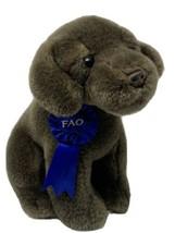 FAO Plush Chocolate Lab Brown Puppy Dog w/ Blue Ribbon Stuffed Toys R Us... - $13.86