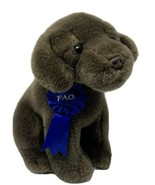 FAO Plush Chocolate Lab Brown Puppy Dog w/ Blue Ribbon Stuffed Toys R Us... - $13.86