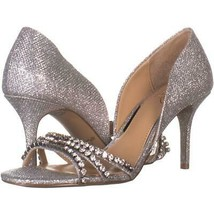 Jewel Badgley Mischka Jean Stiletto Heels 154, Silver, 7.5 US - $29.75