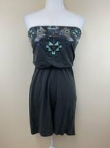 Express XS Dark Gray Mint Silver Sequin Tribal Aztec Strapless Hi Low Dress - $17.99