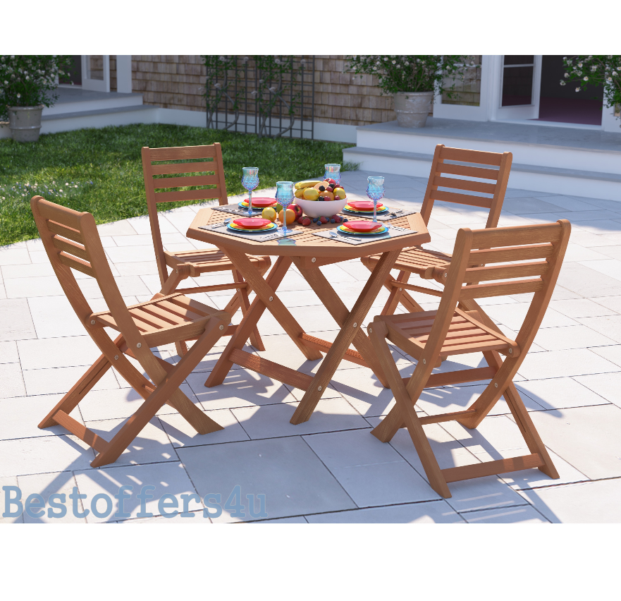 Wooden Garden Dining Set Table & 4 Chairs Folding Patio Conservatory Furniture