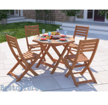 Wooden Garden Dining Set Table & 4 Chairs Folding Patio Conservatory Fur... - $228.94