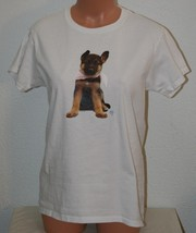 "German Shepherd Puppy T-Shirt Chest 38"" White Medium Womens Gildan - $9.75"