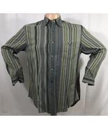Tommy Bahama Mens Tencel Lyocell Long Sleeve Button Shirt Medium Green Gray - $24.18