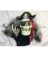 GEMMY ANIMATED HALLOWEEN PIRATE SKELETON TALKING Sensor WALL HEAD Greeter - $37.39