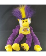 Los Angeles Lakers NBA Basketball Rally Monkey Yellow Purple Plush Stuffed  - $14.84