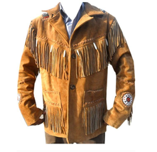 New Men's Tan Native American Suede Cow Leather Beads Fringes Jacket FJ145 - $157.88+