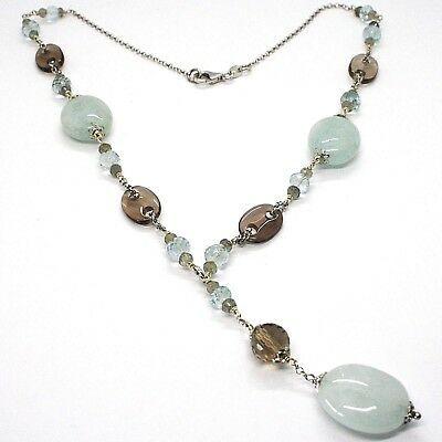 SILVER 925 NECKLACE, aquamarine oval, quartz smoke oval and round, PENDANT