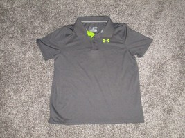 Under Armour Heat Gear Loose Polo Shirt, Youth XL, Gray & Neon Green - $17.99